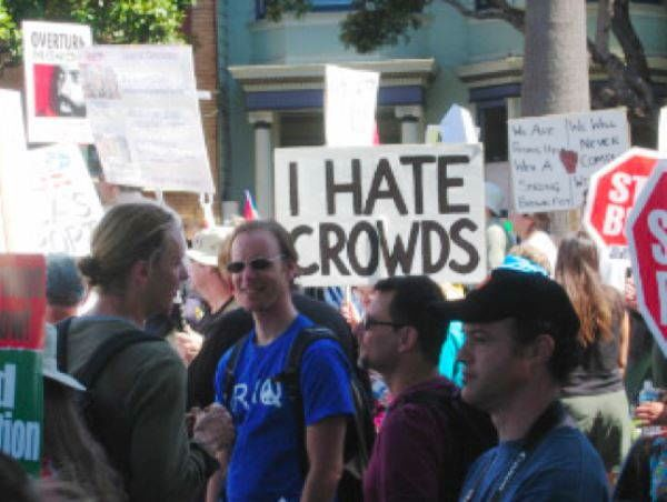 hilarious protest signs i hate crowds The Most Hilarious Protest Signs Ever