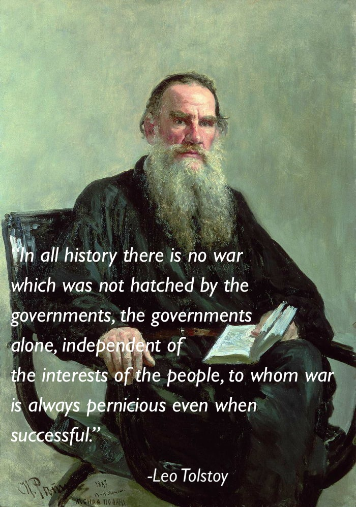 pacifism quotes leo tolstoy Eleven Great Thoughts On Pacifism